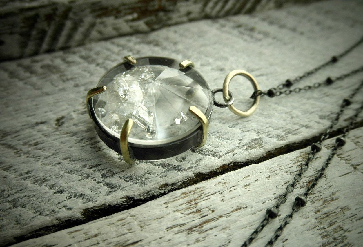 Personalized Necklace, Custom Gold & Silver Keepsake Gem