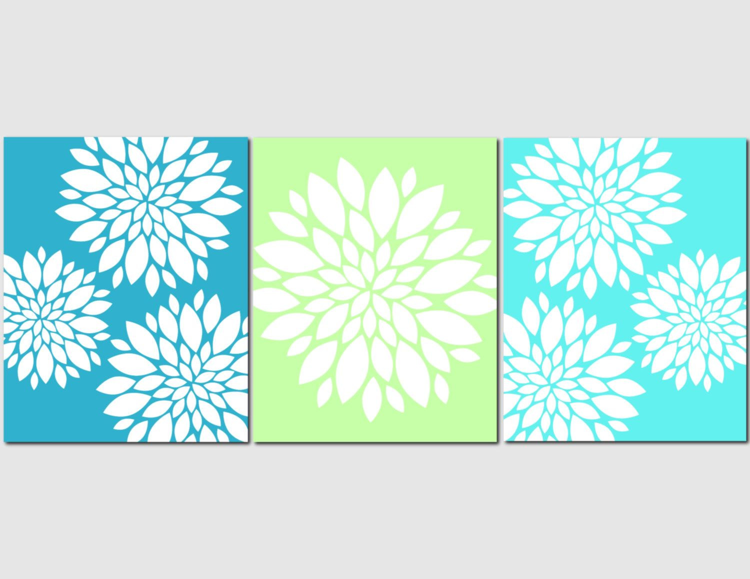 Aqua Teal Lime Green Wall Art Home Decor Flower Burst, Floral, Bathroom,  Living Part 45