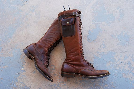 cf227179c6e vintage 30s Leather Boots - 1930s Leather Work Boots Tall Lace up ...