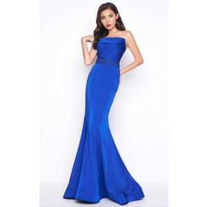 Mac Duggal strapless bustier evening gown royal blue (8) | Clothes ...