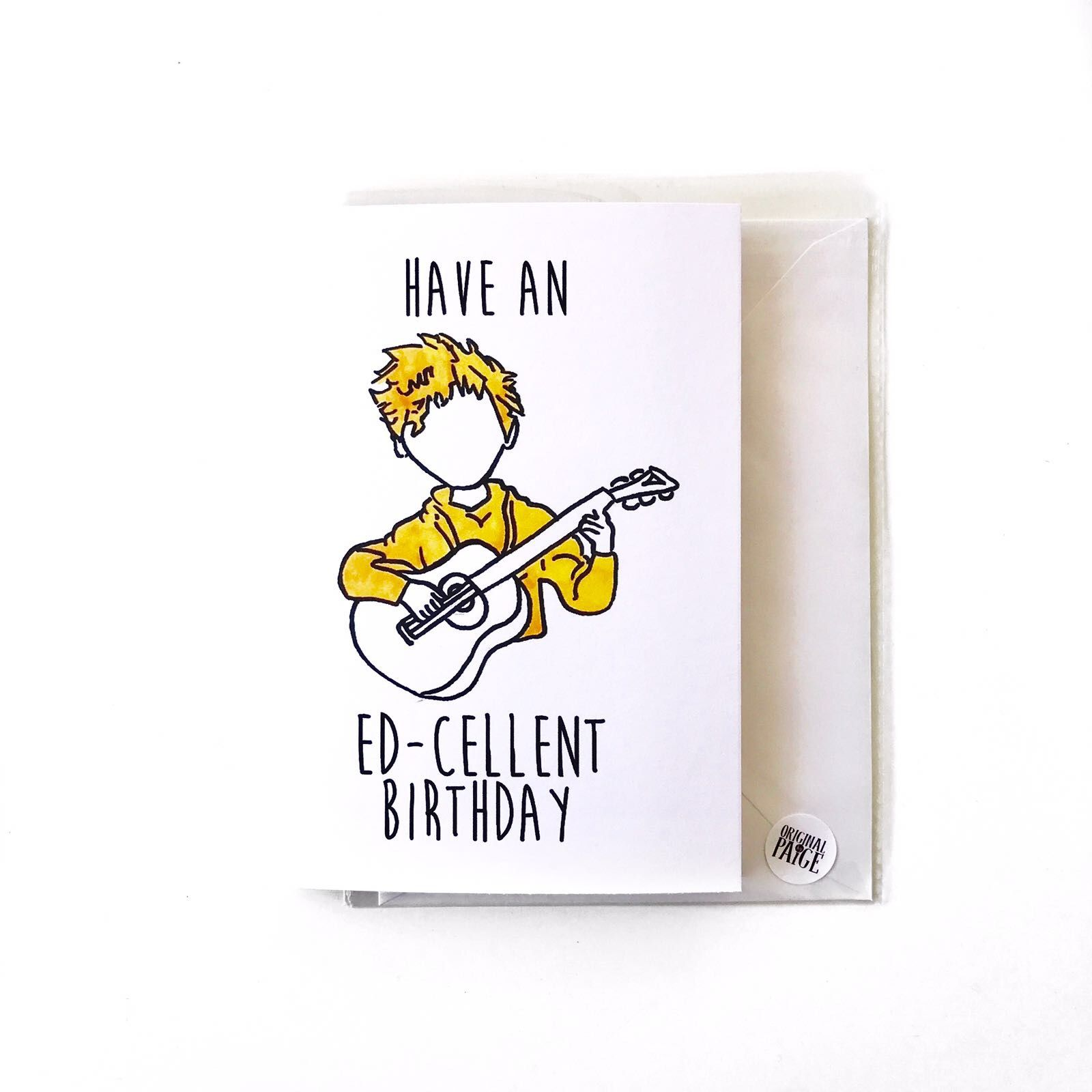 Ed Sheeran birthday card check us out on etsy and depop link