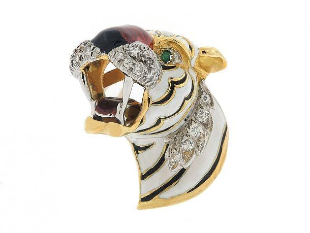Kutchinsky Enamel and Diamond Tiger's Head Brooch in 18K