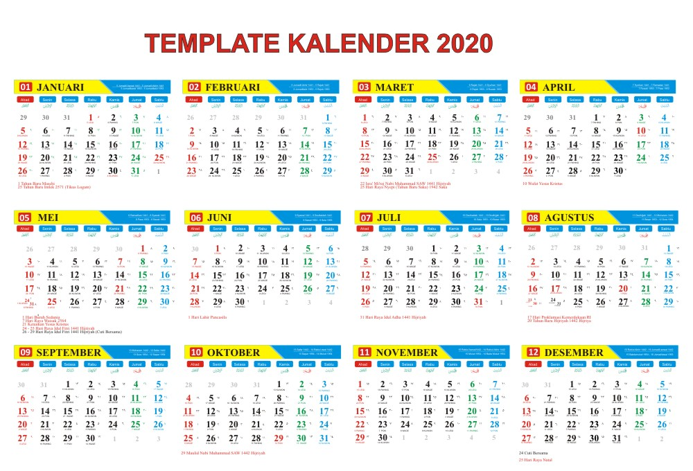 Gratis Download Master Kalender Tahun 2020 Lengkap Corel Kalender Desain Kalender Indonesia