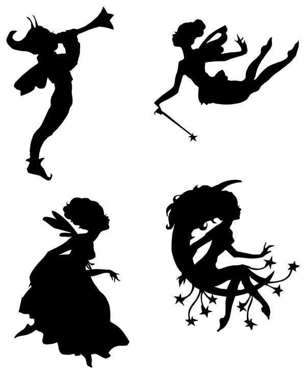 Lovely fairy silhouettes templates stencils sjablonen to for Fairy cut out template