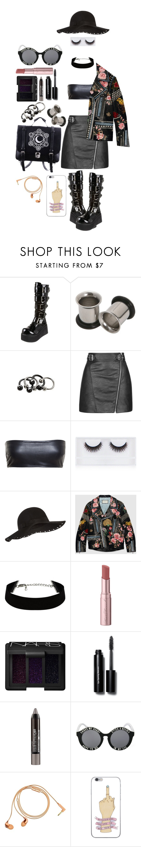 """goth meets fashion 💀💅"" by xkitten-pokerx ❤ liked on Polyvore featuring Pleaser, Topshop, Love Leather, Georgie Beauty, Accessorize, Gucci, Too Faced Cosmetics, NARS Cosmetics, Bobbi Brown Cosmetics and Maybelline"