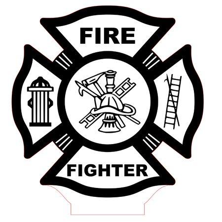 Fire Fighter Emblem Led Lamp Vector File For Cnc 3bee Studio Feuerwehr Schablonen