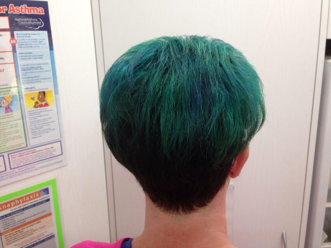 Back view teal hair   Express Hair u Beauty  Pinterest