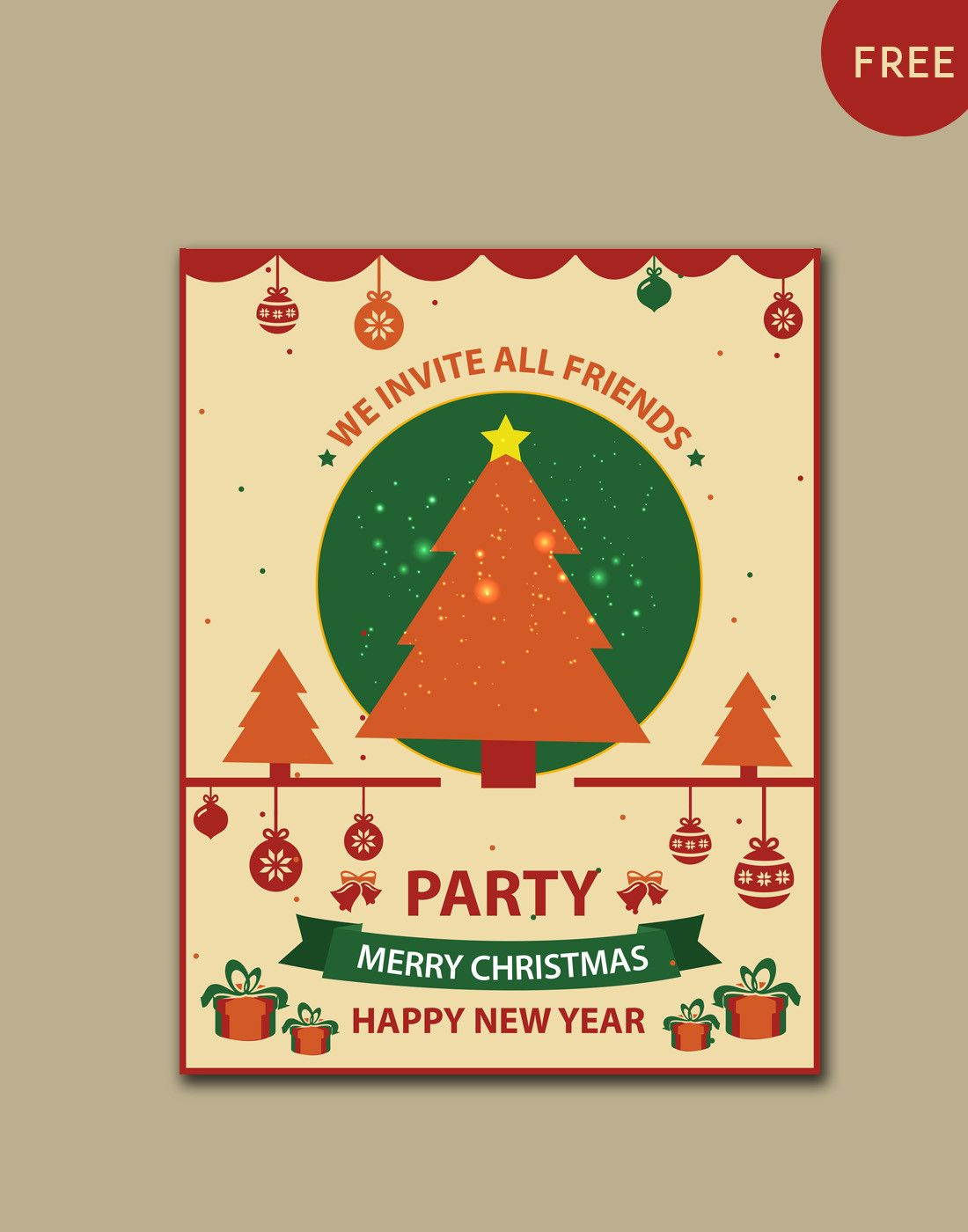 Christmas Party Invitation Template in 2020  Christmas party invitations free, Christmas party