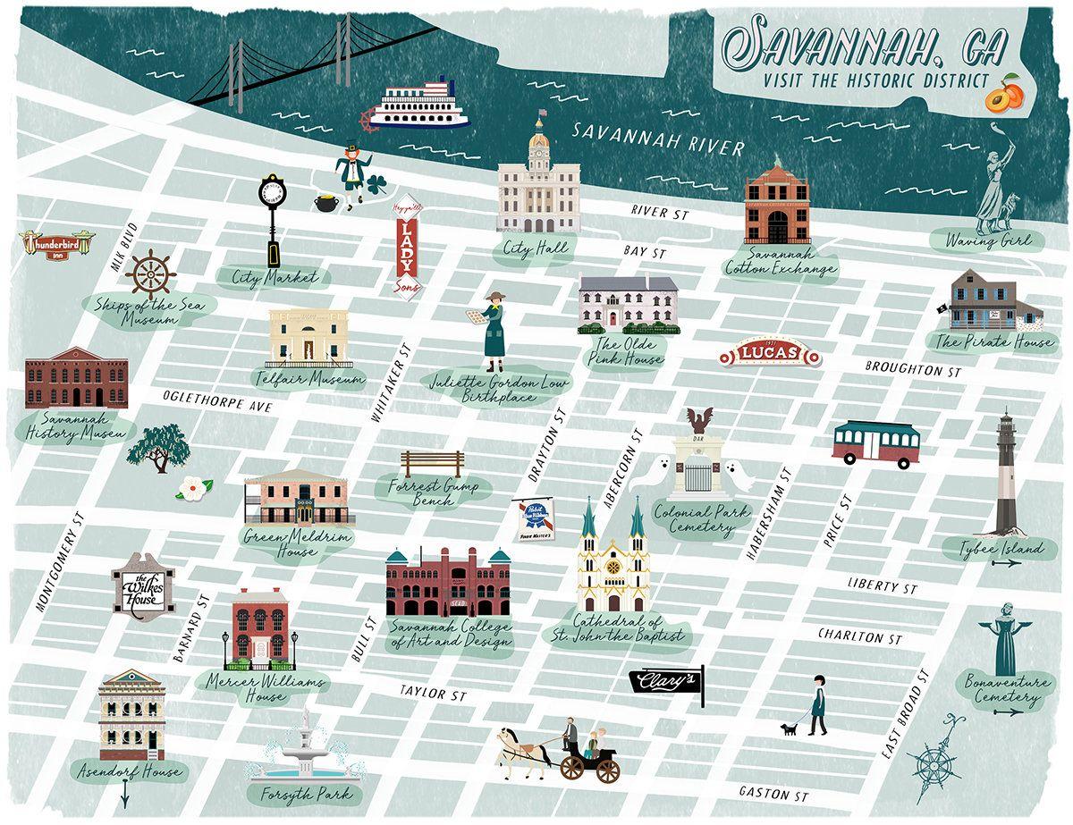 Savannah Georgia Historic District Illustrated Map By Kimberly Coles At Coroflot Com Illustrated Map Maps Illustration Design Savannah Chat