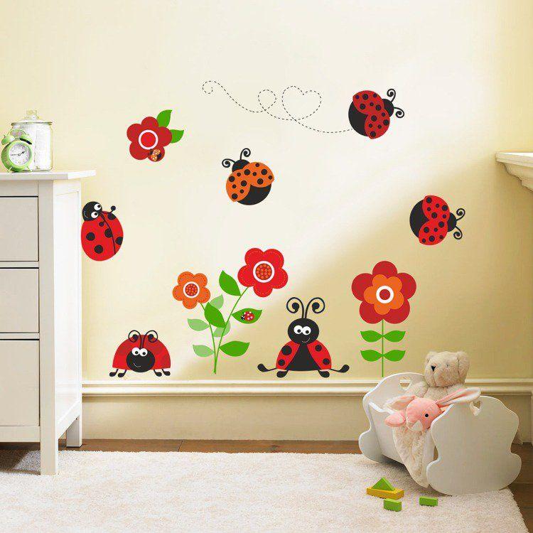 stickers-muraux-coccinelles-rouge-orange-fleurs-déco-chambre-bébé