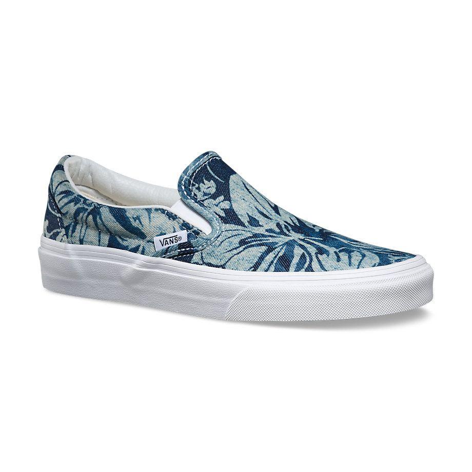 Vans Blue/True White Indigo Tropical Slip-On, vans sk8 mid