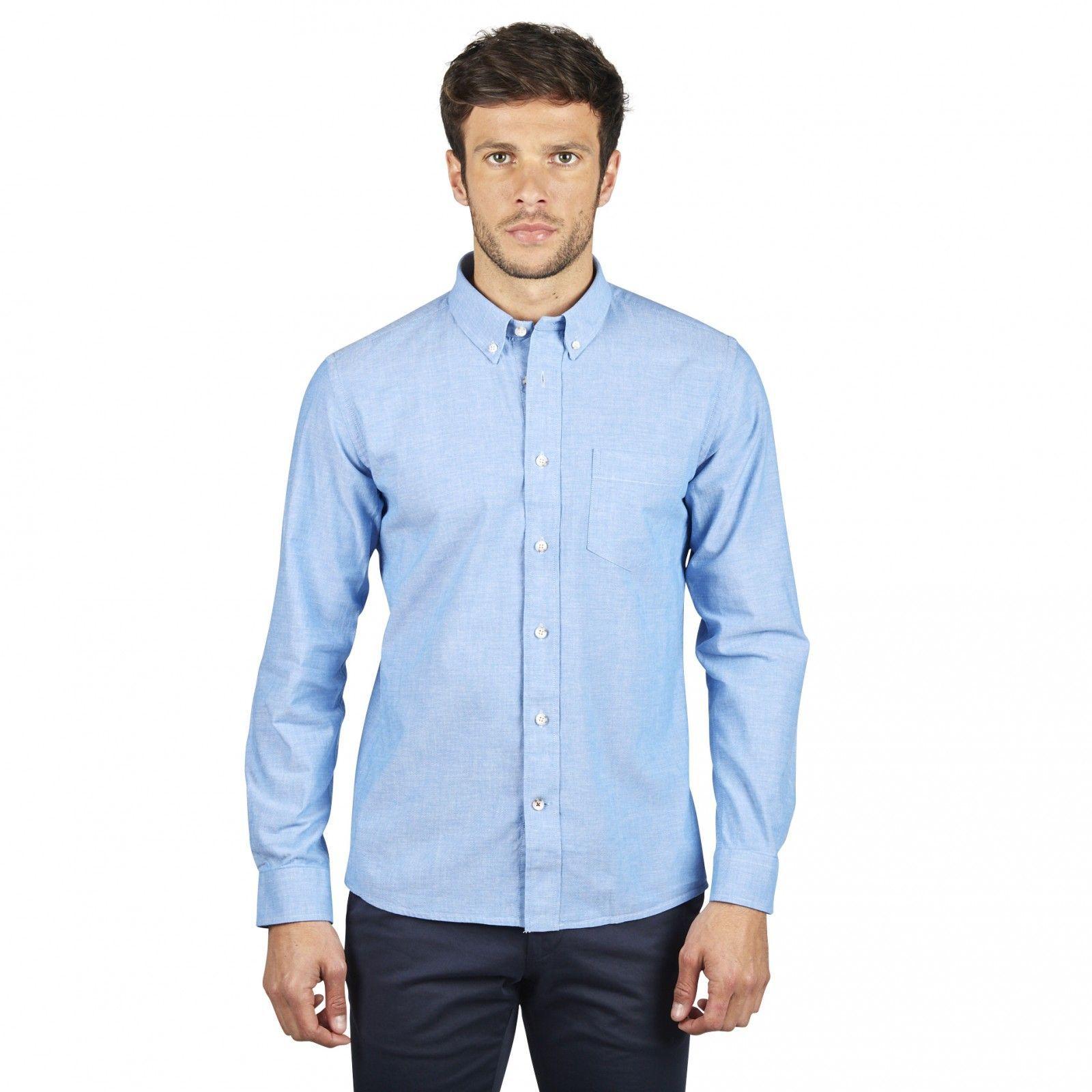 64e84d0a633 Chemise pour homme bleu denim. La chemise casual Hast en coton oxford à la  coupe