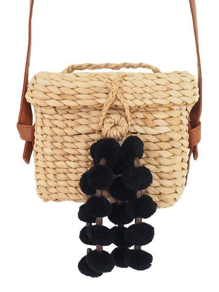 6e412bdb85b Patsy' Black Pom Pom Wood Basket Cross Body Bag – Goodnight Macaroon ...