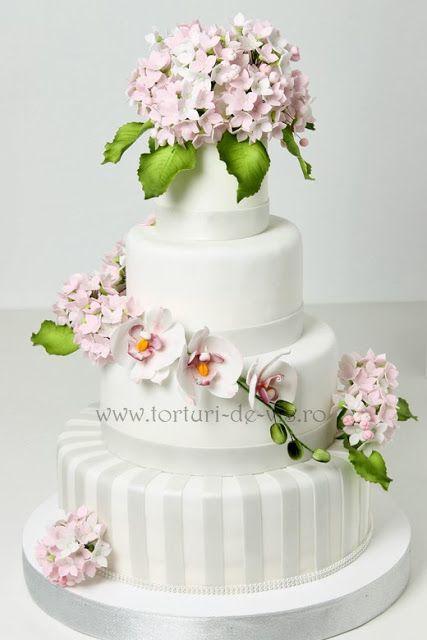 Torturi Vioricas Cakes Tort Nunta Cu Hortensii Roz Si Orhidee