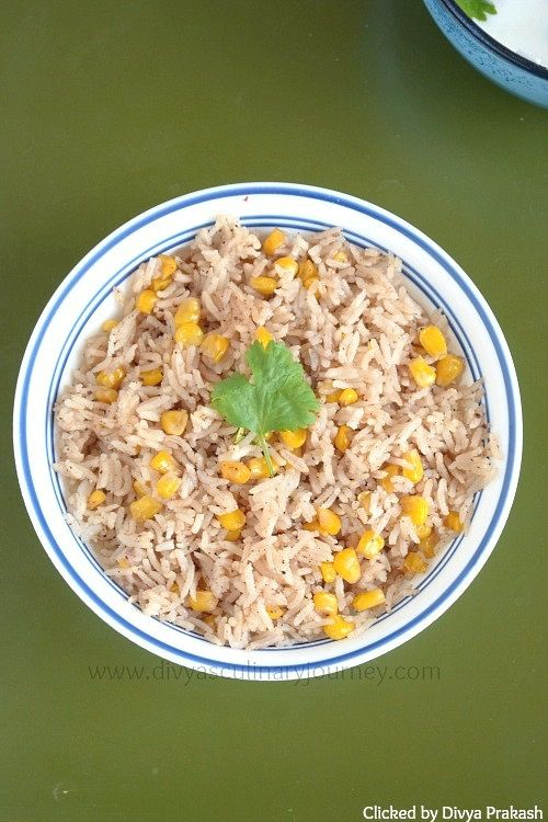 Corn Pulao - Flavorful one pot meal made with Sweet corn kernels and freshly ground spices. (Vegan)