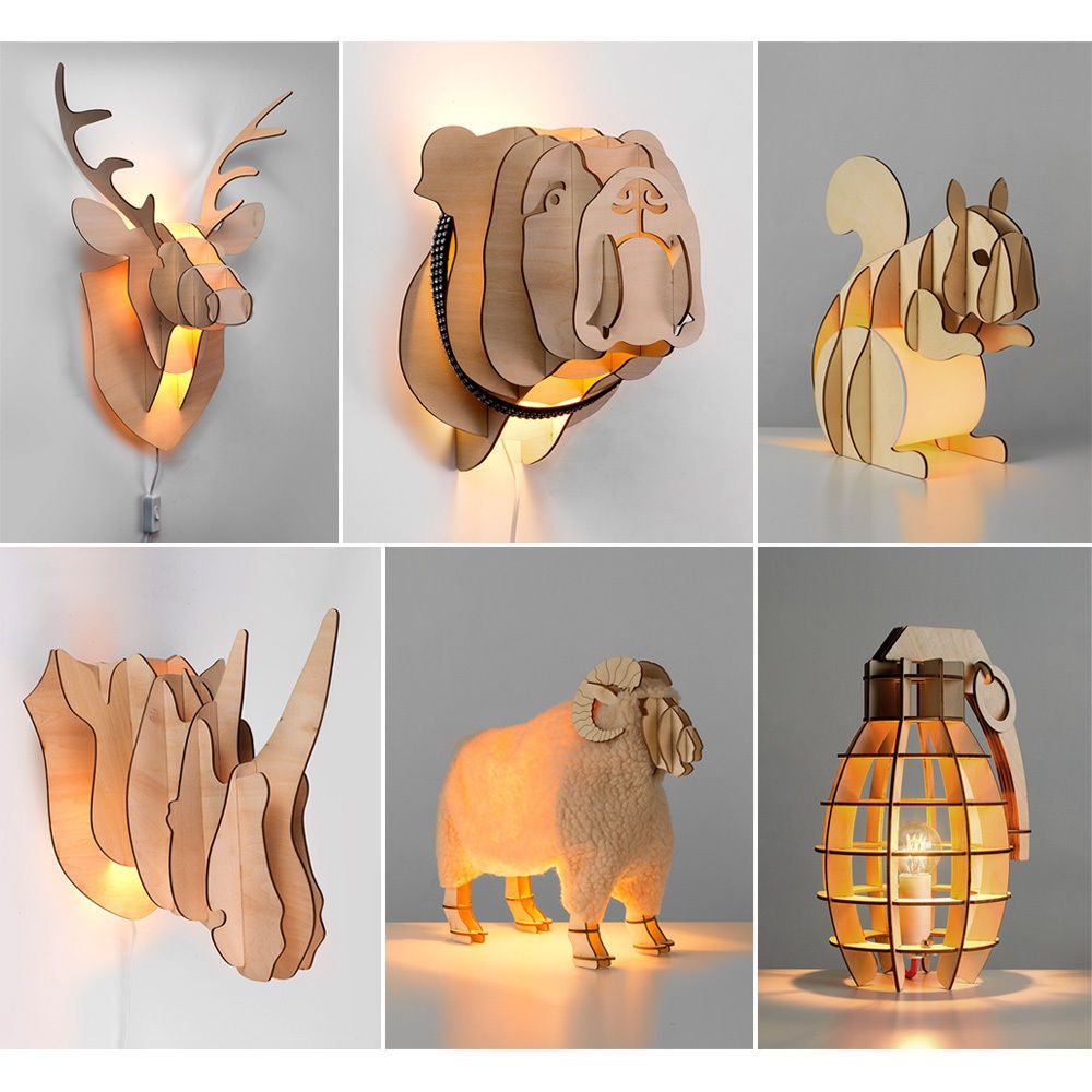 Quirky Novelty LED Wood Table Lamps & Wall Lights Stags Head Bulldog  Squirrel
