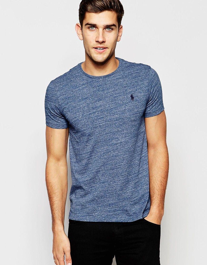82b04cf13de4 Polo+Ralph+Lauren+T-Shirt+with+Polo+Player+Logo+In+Blue+Marl