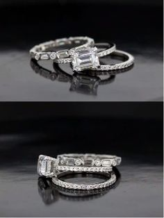 STUNNING Diamond Wedding Set Inspired By Kate Beckinsaleu0027s Set; Emerald Cut  Pave Eternity Band   Kate Beckinsaleu0027s Ring And Our Take On It