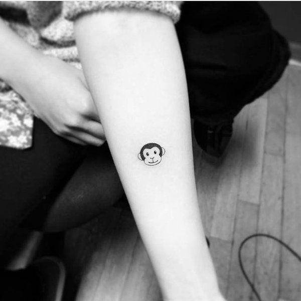Tattoo Art On Monkey Tattoos Emoji Tattoo Cute Tiny Tattoos