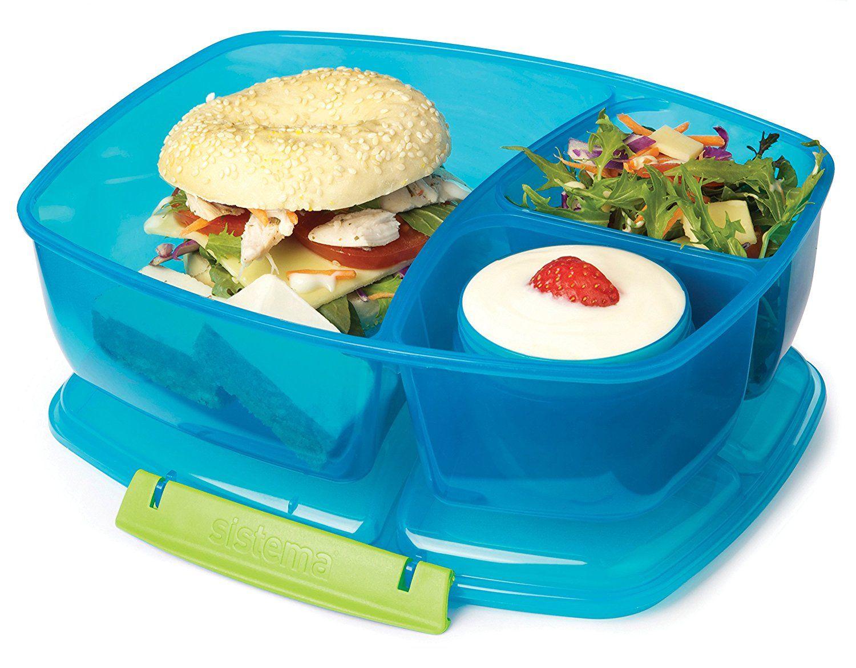 Sistema Lunch Triple Split Lunch Box with Yoghurt Pot, 2 L - Colour ...