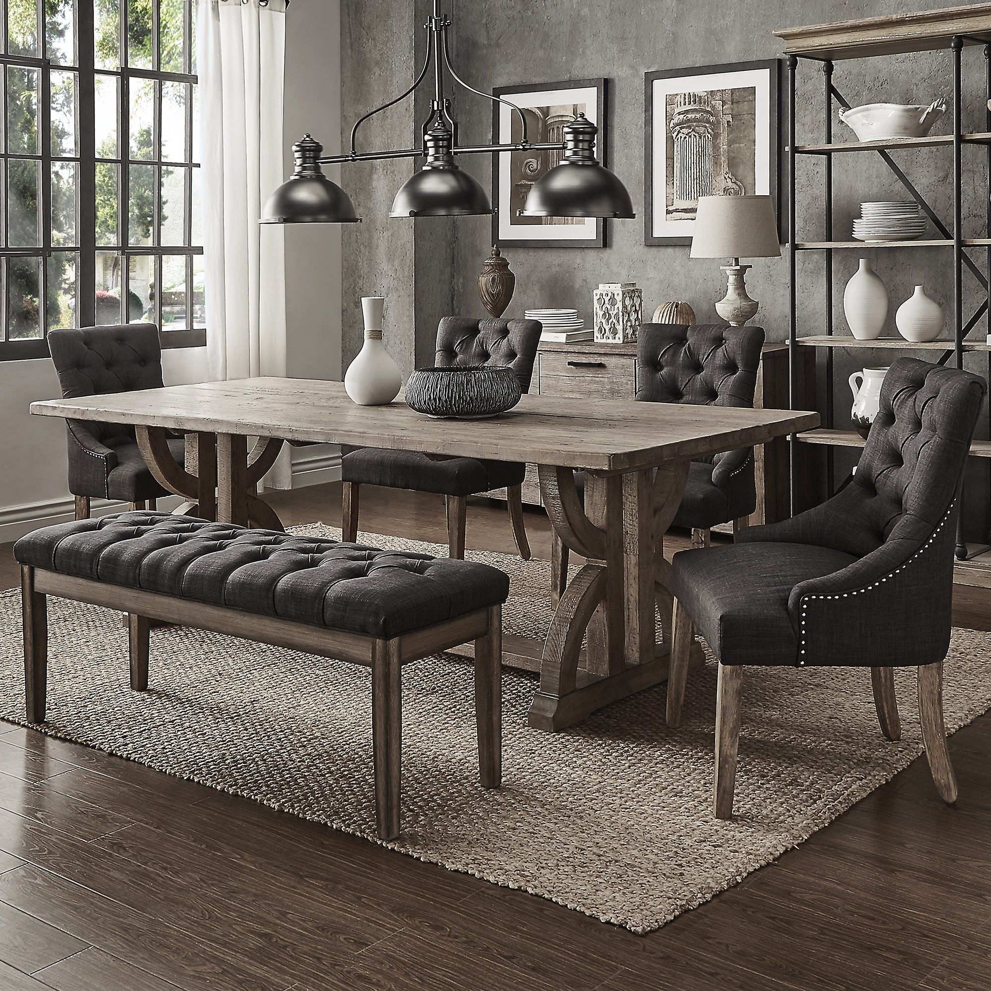 Paloma Salvaged Reclaimed Pine Wood 6-Piece Rectangle Dining Set by iNSPIRE  Q Artisan (