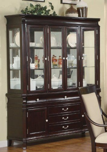 China Cabinet Buffet Hutch Silver Handles Merlot Cappuccino Finish By Coaster Home Furnishings 124800