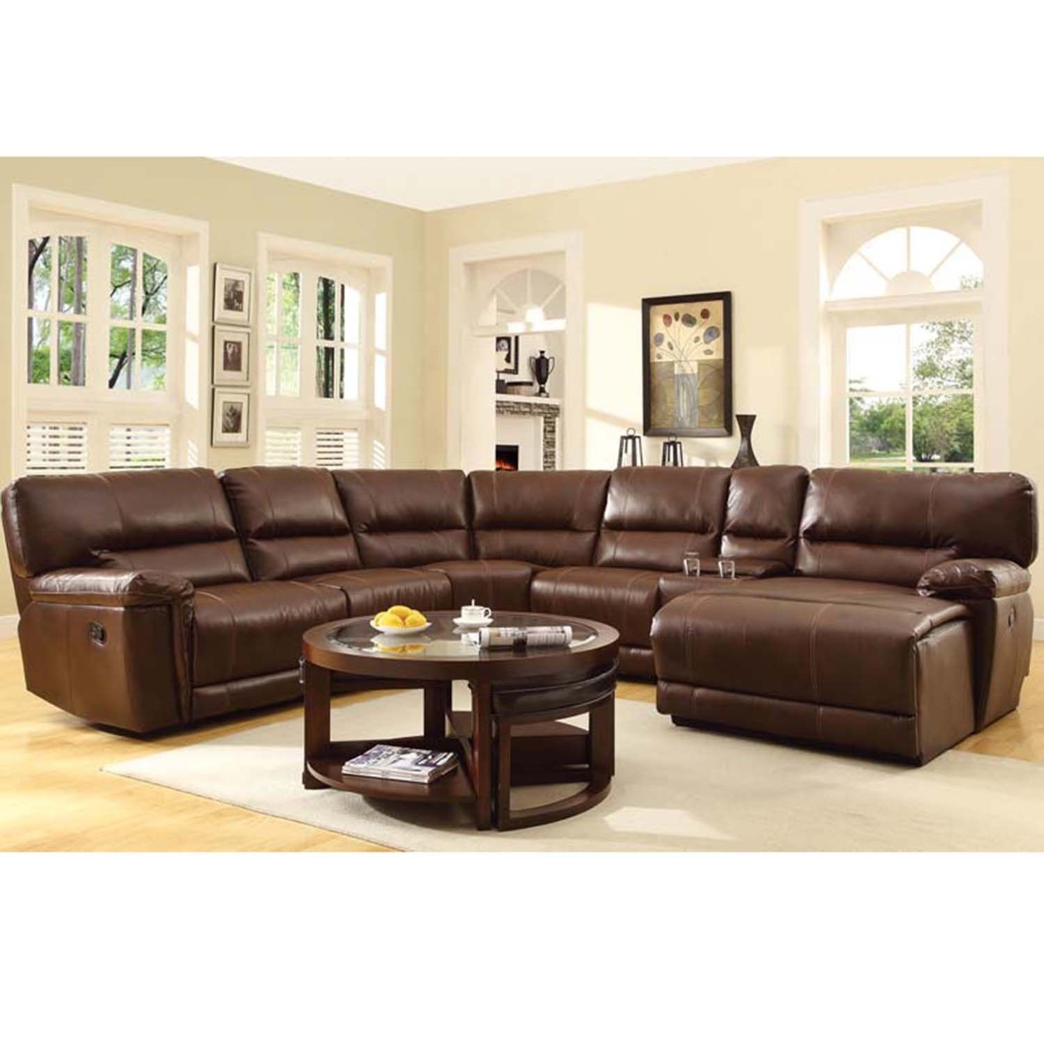 Hardy Bonded Leather Reclining Sectional With Chaise Overstock