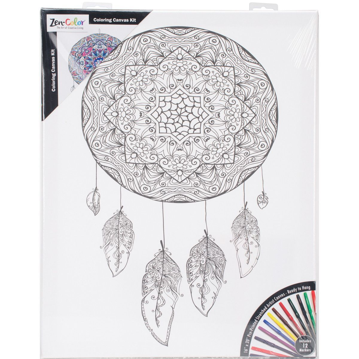 """NEW! Adult Coloring Canvas 16""""""""X20"""""""" W/12 Markers-Dreamcatcher"""