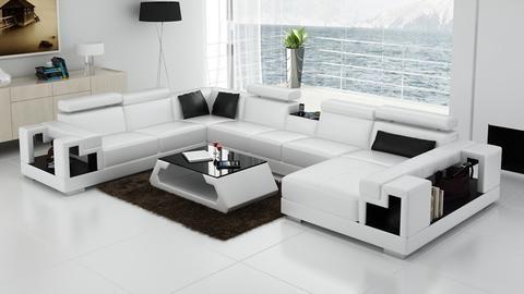 Living Room Sofa, U-Shaped Leather Sofas, Black, Red, Orange ...