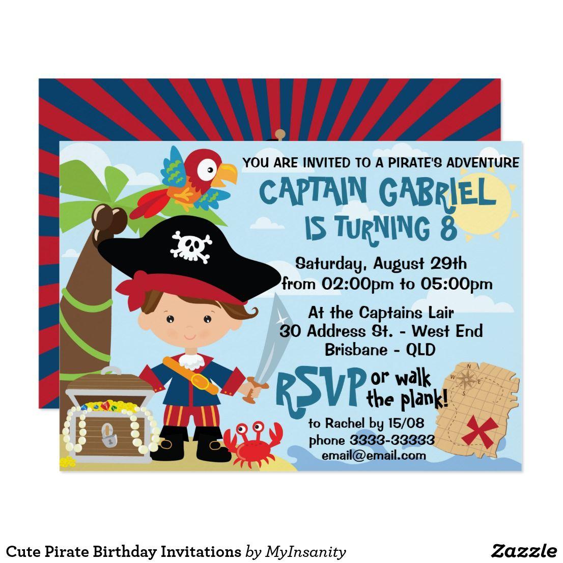 Cute Pirate Birthday Invitations Super cute kids pirate birthday ...