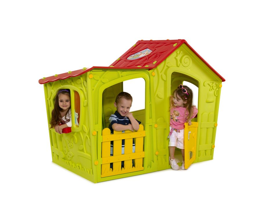 Keter Magic Villa Playhouse Windows With Planters Colorful