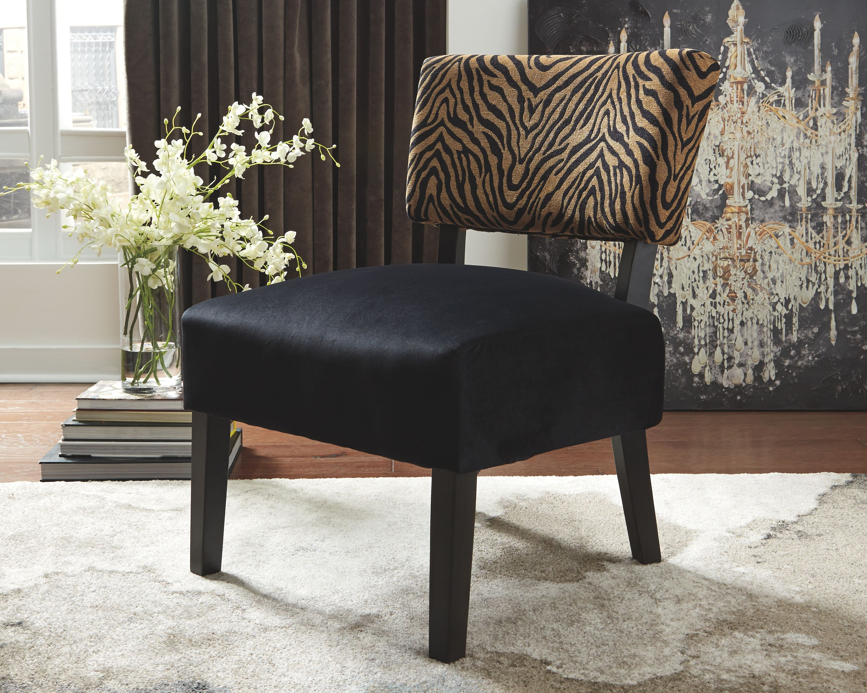 Parvin Accent Chair Gold Black In 2020 Accent Chairs Printed