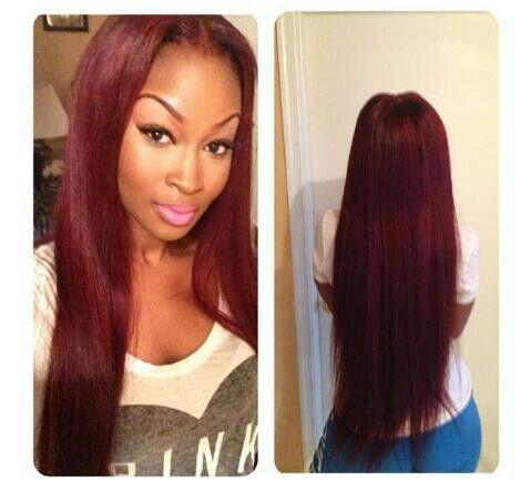 Superb Long Hair Burgundy Hair Color Red Hair Sew In Make Up Hairstyles For Women Draintrainus