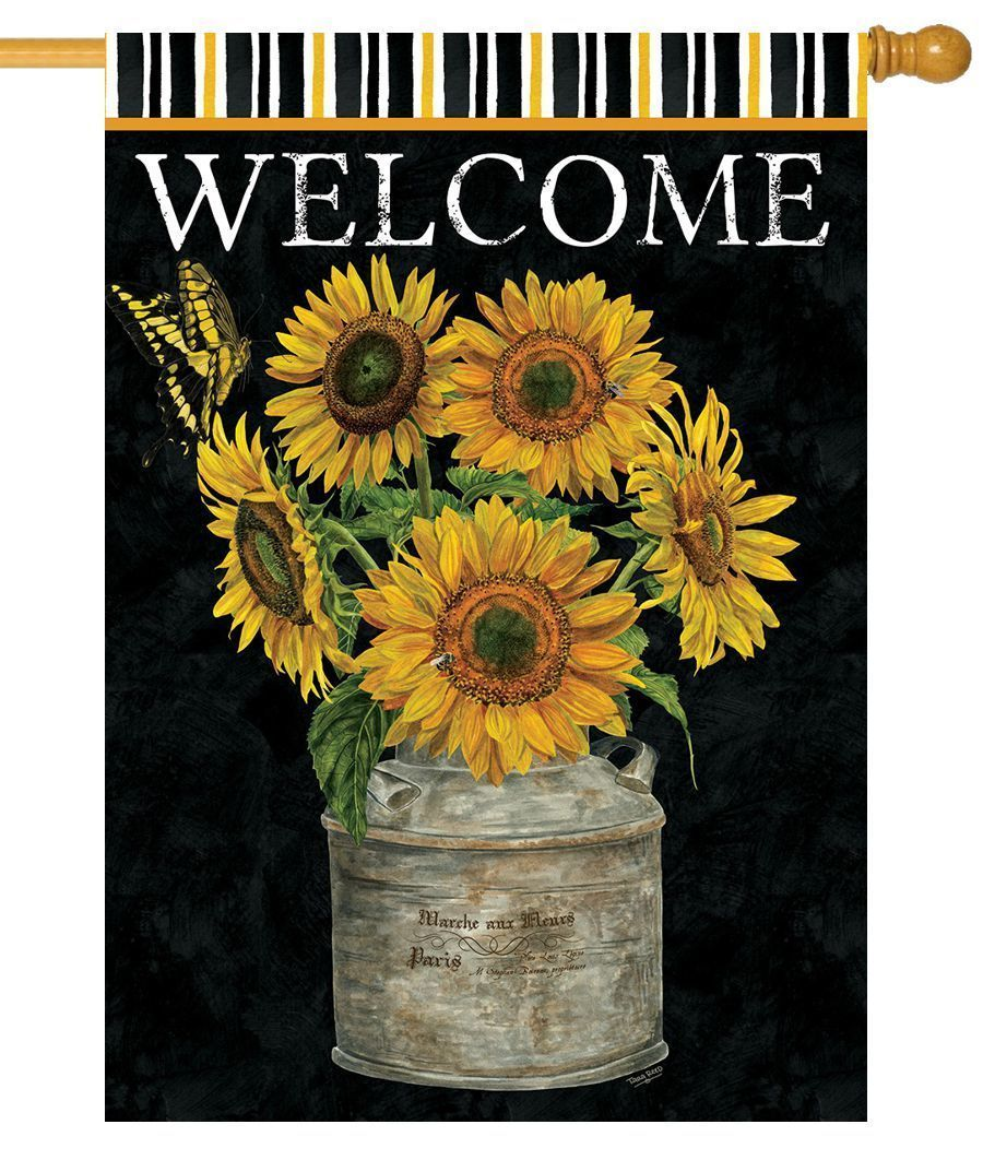 Welcome Sunflowers And Stripes House Flag In 2020 Custom Decor House Flags Garden Flag Stand
