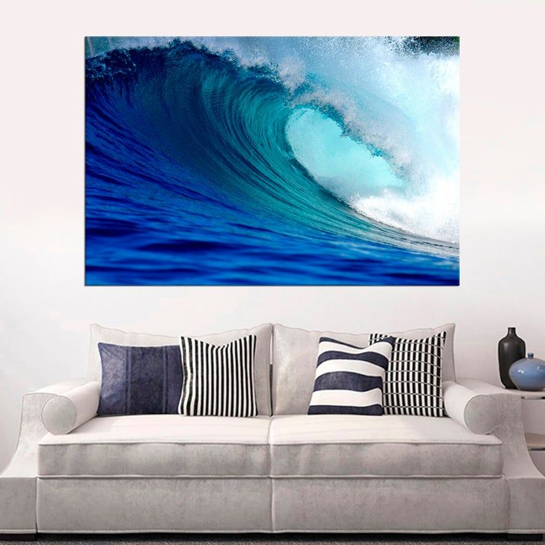 Large Ocean Waves Stretched Canvas Print Wall Art Decor Blue Etsy In 2020 Stretch Canvas Stretched Canvas Prints Largest Ocean