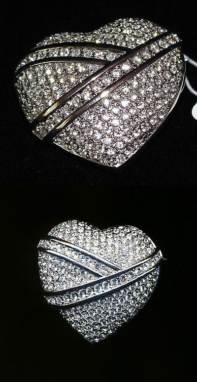 Pins Brooches 165894: Signed Christian Dior Rhodium Plated Swarovski Crystal Heart Pin Brooch New (D) BUY IT NOW ONLY: $119.99