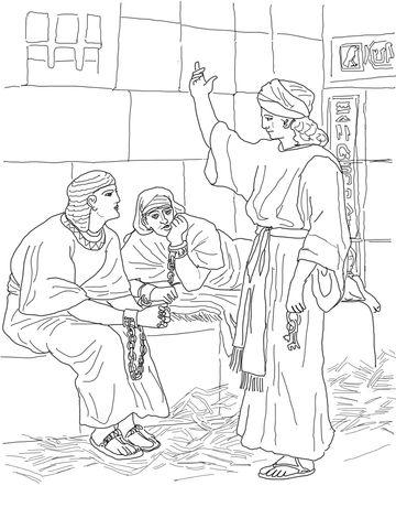 Joseph In Prison Coloring Page Escuela Dominical Para Ninos