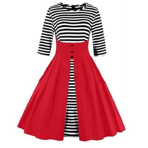 Red Stripe Vintage Dress
