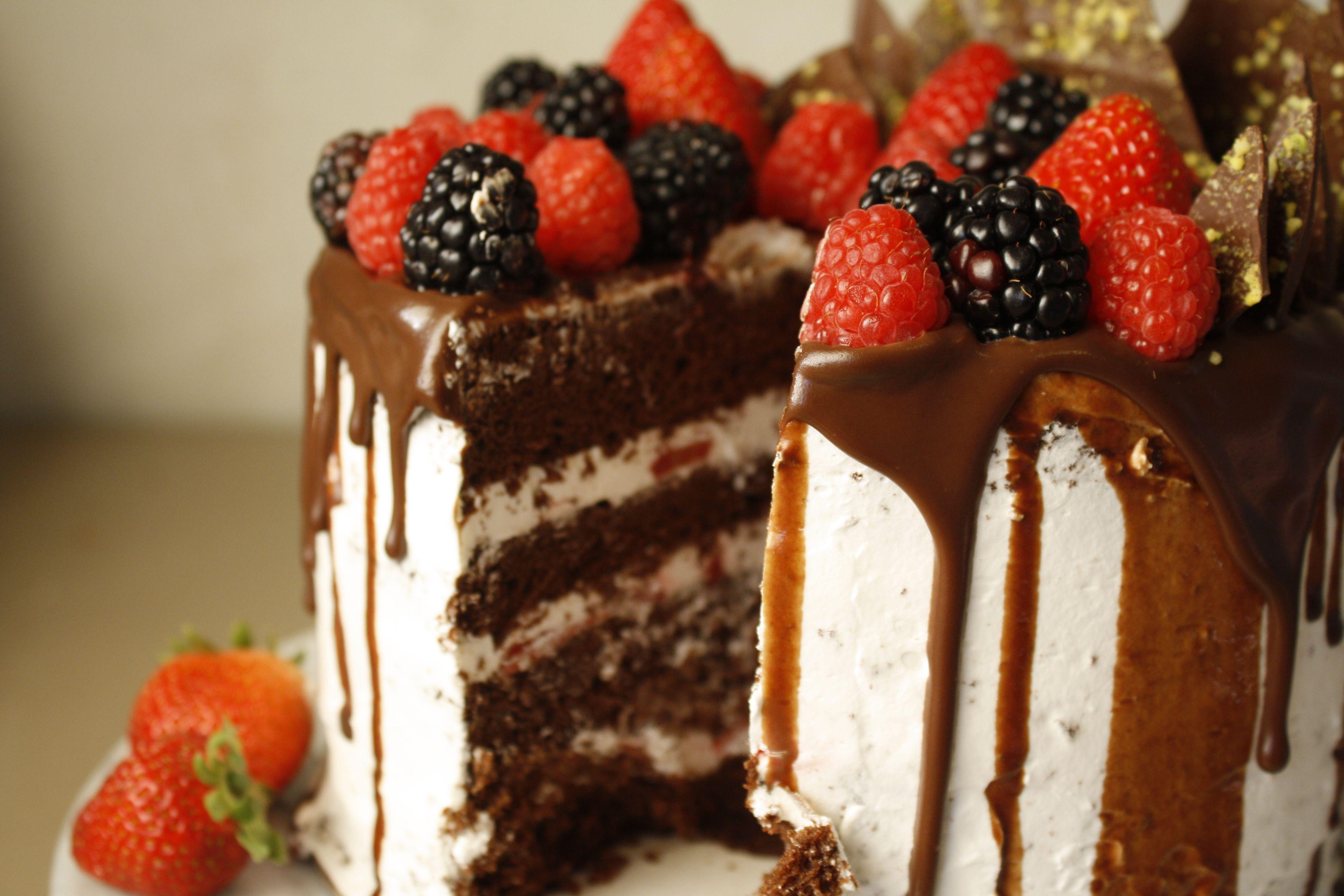 Chocolate Drip Cake with Fresh Berries