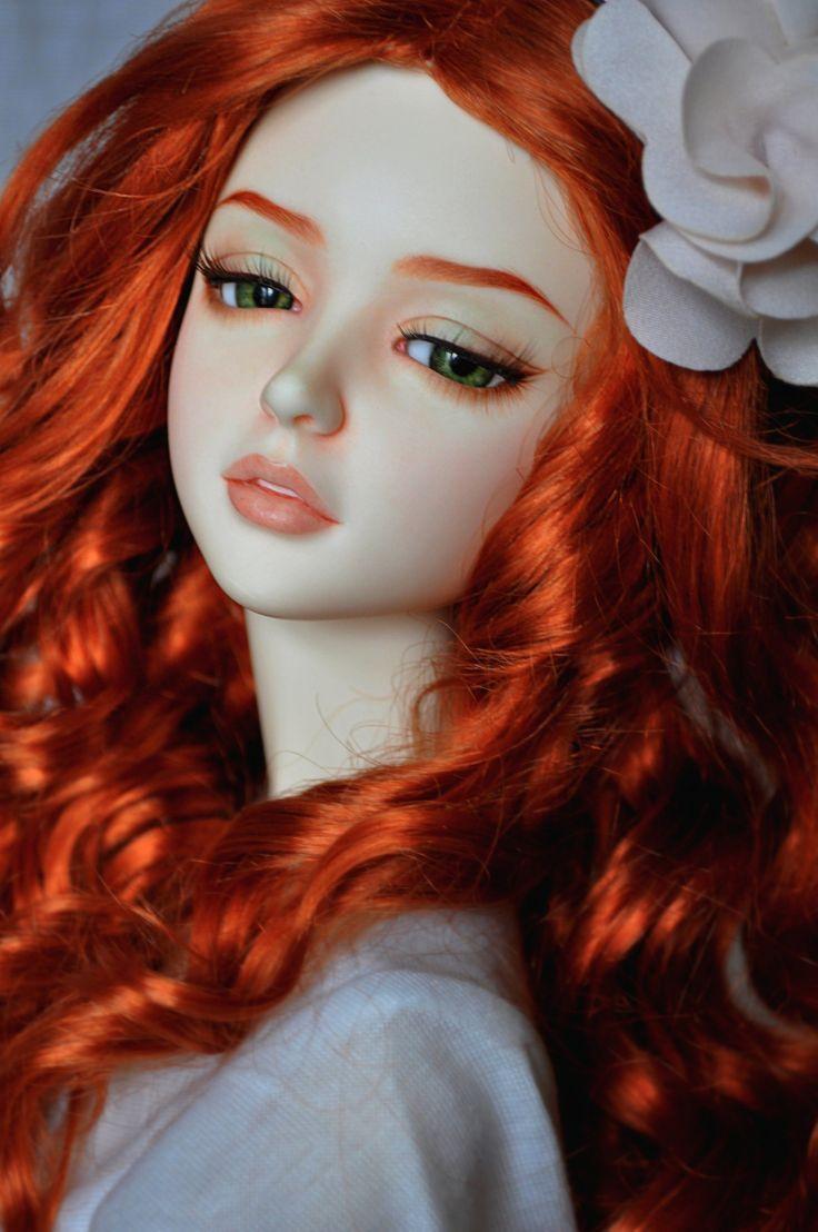 toys doll baby long hair girl beautiful red hair green