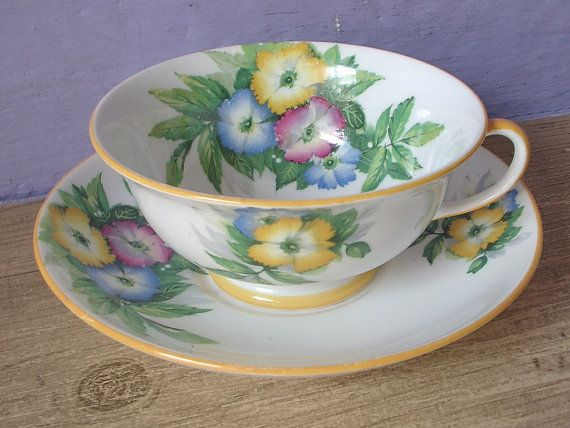 RARE Antique Aynsley china tea cup and saucer, English tea set, hand painted…