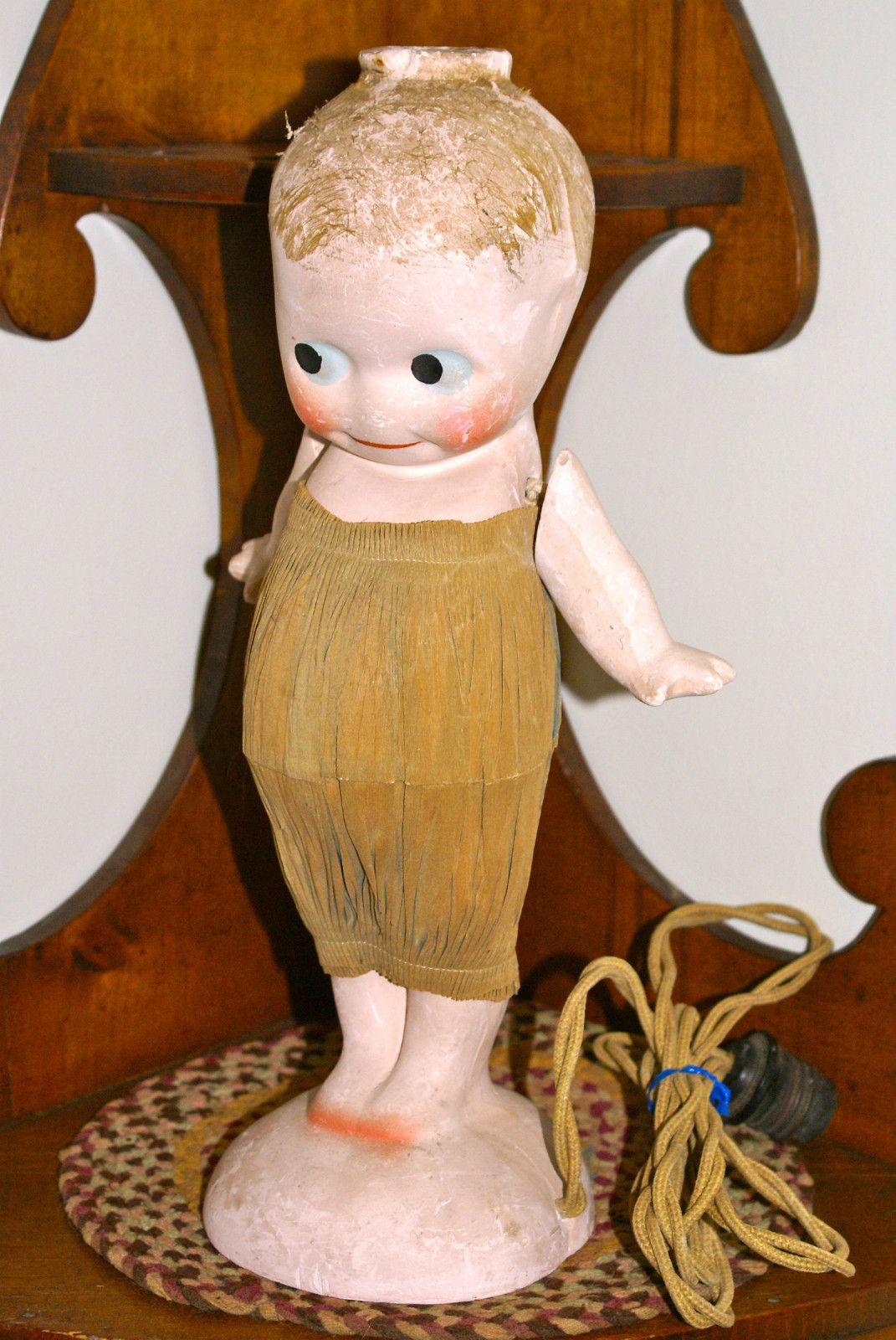 Amazing RARE 1920u0027s Chalkware Kewpie Doll Lamp 13 5 Inches Tall Paper Dress   EBay