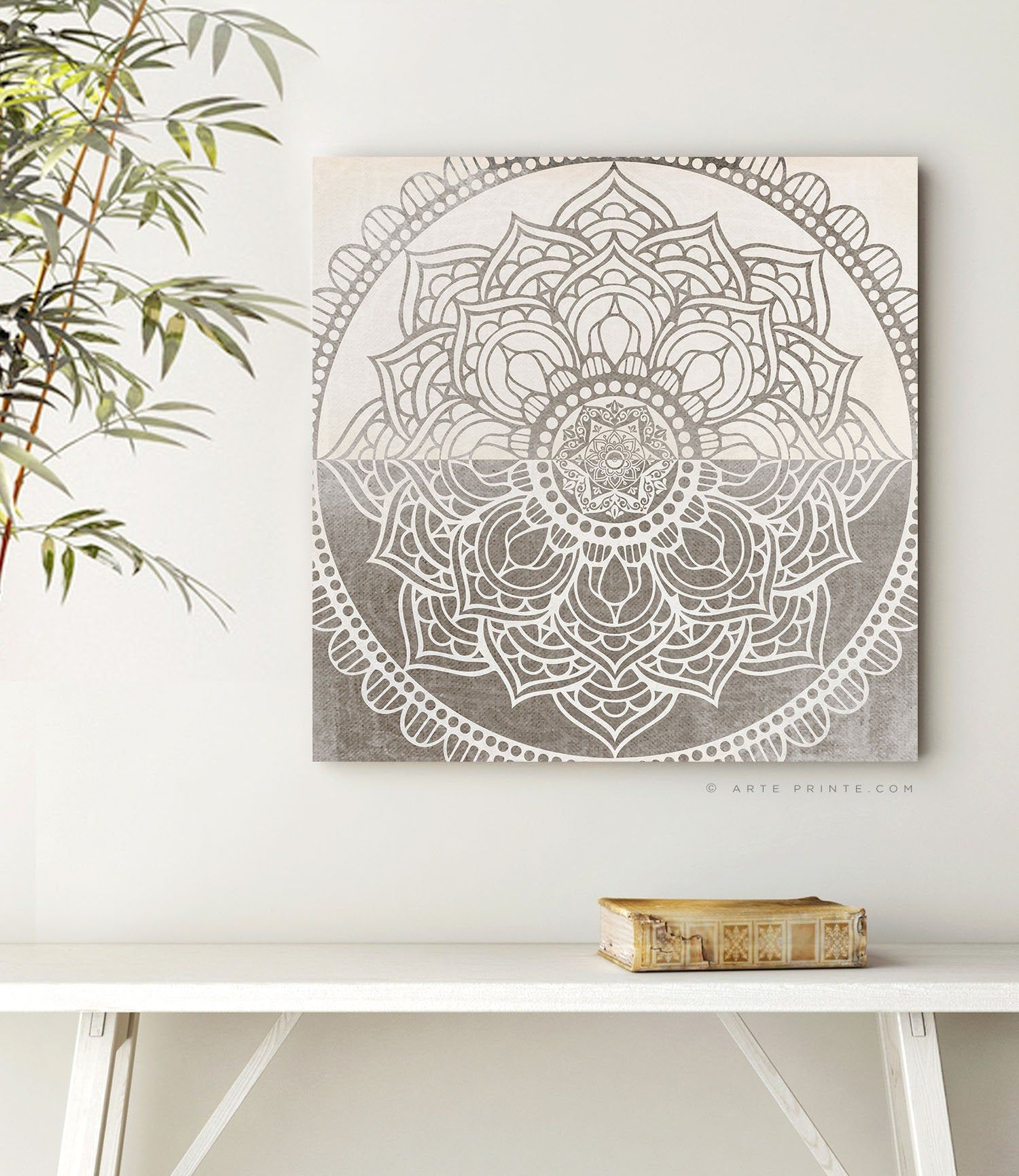Mandala Wall Art Printable Boho Zen Wall Decor Taupe Beige Etsy Mandala Wall Art Printable Wall Art Yoga Room Decor