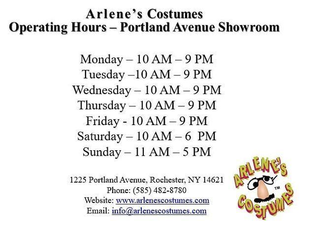 Arlene's Costumes Halloween Hours 1225 Portland Avenue