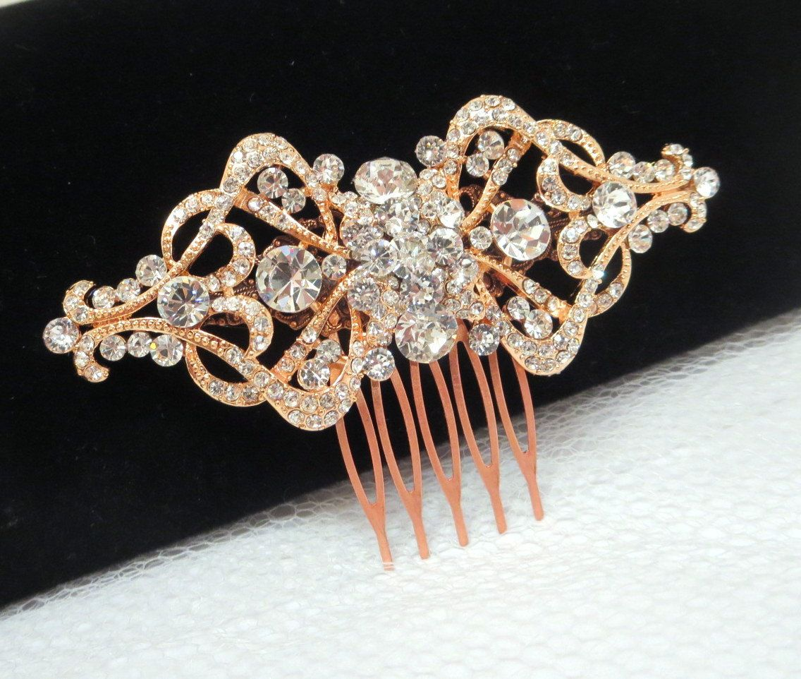 Rose gold wedding hair comb Bridal hair comb by treasures570, $65.00