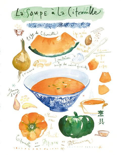 Kitchen art Pumpkin soup recipe poster Food illustration Watercolor vegetable 8X10 kitchen decor Orange French illustrated recipe. $25.00, via Etsy.