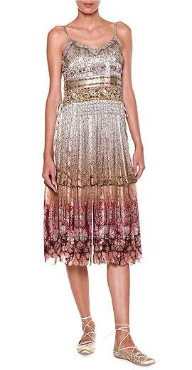 Etro Ruched-Bodice Tiered-Skirt Bohemian Dress
