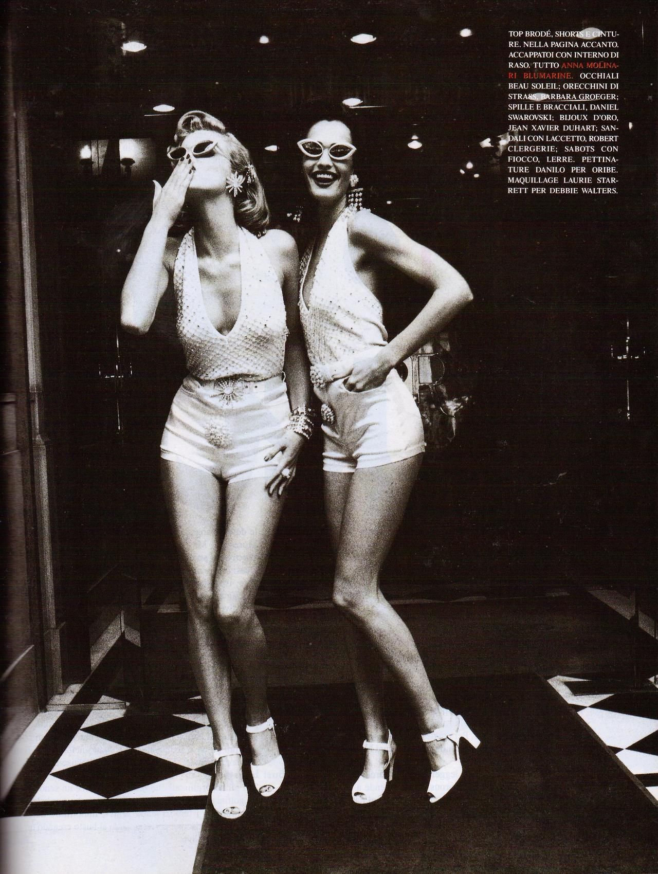 Eva Herzigova & Karen Mulder   Photography by Ellen von Unwerth   For Vogue Magazine Italy   February 1992