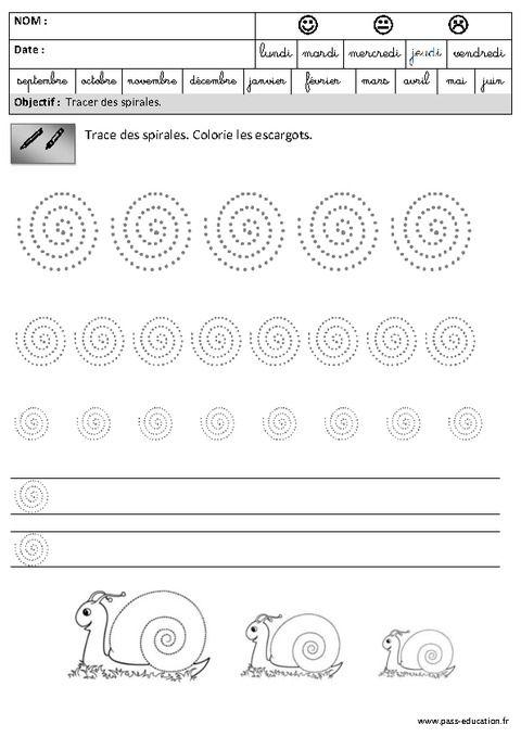 spirales graphisme maternelle grande section gs pass education pre ecriture. Black Bedroom Furniture Sets. Home Design Ideas