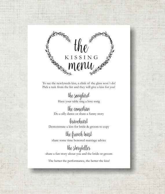 Kissing Menu Printable Wedding Kissing Menu Template Wedding - menu printable template